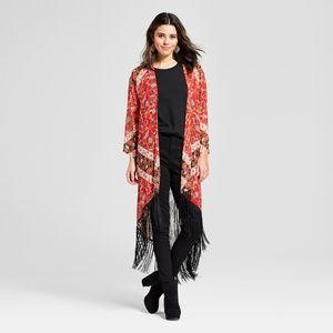 Xhilaration Fringe Kimono